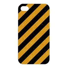 Stripes3 Black Marble & Orange Colored Pencil Apple Iphone 4/4s Premium Hardshell Case by trendistuff
