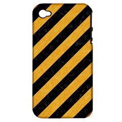 Stripes3 Black Marble & Orange Colored Pencil Apple Iphone 4/4s Hardshell Case (pc+silicone) by trendistuff