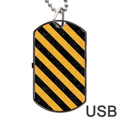 Stripes3 Black Marble & Orange Colored Pencil (r) Dog Tag Usb Flash (two Sides) by trendistuff