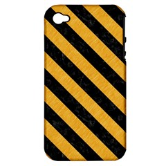 Stripes3 Black Marble & Orange Colored Pencil (r) Apple Iphone 4/4s Hardshell Case (pc+silicone) by trendistuff