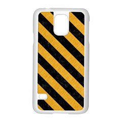 Stripes3 Black Marble & Orange Colored Pencil (r) Samsung Galaxy S5 Case (white) by trendistuff