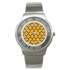 Tile1 Black Marble & Orange Colored Pencil (r) Stainless Steel Watch