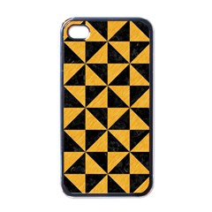 Triangle1 Black Marble & Orange Colored Pencil Apple Iphone 4 Case (black) by trendistuff
