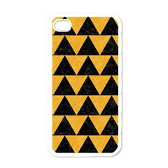 Triangle2 Black Marble & Orange Colored Pencil Apple Iphone 4 Case (white) by trendistuff