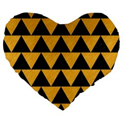 Triangle2 Black Marble & Orange Colored Pencil Large 19  Premium Heart Shape Cushions by trendistuff