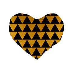 Triangle2 Black Marble & Orange Colored Pencil Standard 16  Premium Flano Heart Shape Cushions by trendistuff