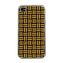 Woven1 Black Marble & Orange Colored Pencil Apple Iphone 4 Case (clear) by trendistuff