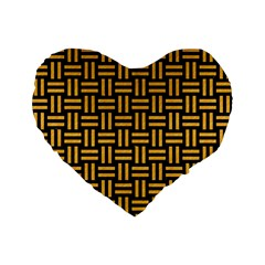Woven1 Black Marble & Orange Colored Pencil Standard 16  Premium Flano Heart Shape Cushions by trendistuff