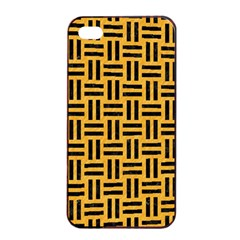 Woven1 Black Marble & Orange Colored Pencil (r) Apple Iphone 4/4s Seamless Case (black) by trendistuff