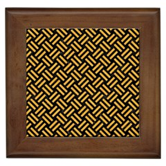 Woven2 Black Marble & Orange Colored Pencil Framed Tiles by trendistuff
