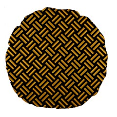 Woven2 Black Marble & Orange Colored Pencil Large 18  Premium Flano Round Cushions by trendistuff