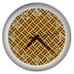 Woven2 Black Marble & Orange Colored Pencil (r) Wall Clocks (silver)  by trendistuff