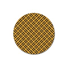 Woven2 Black Marble & Orange Colored Pencil (r) Magnet 3  (round) by trendistuff