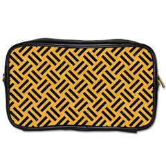 Woven2 Black Marble & Orange Colored Pencil (r) Toiletries Bags 2 Side by trendistuff