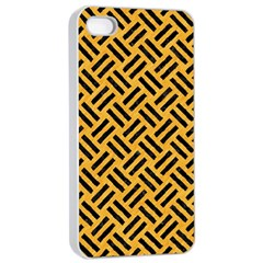 Woven2 Black Marble & Orange Colored Pencil (r) Apple Iphone 4/4s Seamless Case (white) by trendistuff