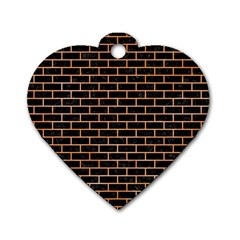 Brick1 Black Marble & Orange Watercolor (r) Dog Tag Heart (one Side) by trendistuff