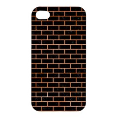 Brick1 Black Marble & Orange Watercolor (r) Apple Iphone 4/4s Hardshell Case by trendistuff