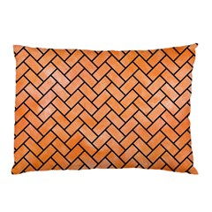 Brick2 Black Marble & Orange Watercolor Pillow Case (two Sides) by trendistuff
