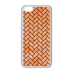 Brick2 Black Marble & Orange Watercolor Apple Iphone 5c Seamless Case (white) by trendistuff