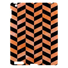 Chevron1 Black Marble & Orange Watercolor Apple Ipad 3/4 Hardshell Case