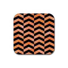 Chevron2 Black Marble & Orange Watercolor Rubber Square Coaster (4 Pack)  by trendistuff
