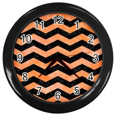 Chevron3 Black Marble & Orange Watercolor Wall Clocks (black) by trendistuff