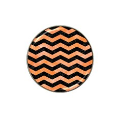 Chevron3 Black Marble & Orange Watercolor Hat Clip Ball Marker (10 Pack) by trendistuff
