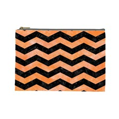 Chevron3 Black Marble & Orange Watercolor Cosmetic Bag (large)  by trendistuff
