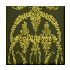 Green Floral Art Nouveau Tile Coasters by 8fugoso