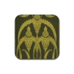 Green Floral Art Nouveau Rubber Square Coaster (4 Pack)  by 8fugoso
