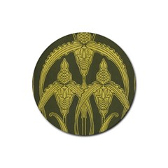 Green Floral Art Nouveau Rubber Coaster (round)  by 8fugoso