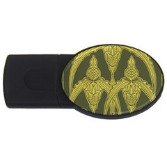 Green Floral Art Nouveau Usb Flash Drive Oval (2 Gb) by 8fugoso