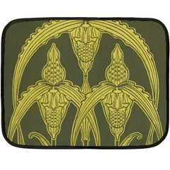 Green Floral Art Nouveau Fleece Blanket (mini) by 8fugoso