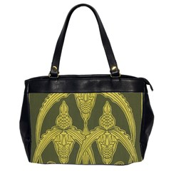 Green Floral Art Nouveau Office Handbags (2 Sides)  by 8fugoso