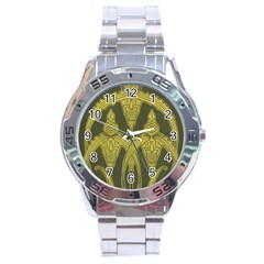 Green Floral Art Nouveau Stainless Steel Analogue Watch