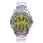 Green floral Art Nouveau Stainless Steel Analogue Watch Front