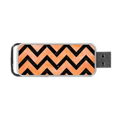 Chevron9 Black Marble & Orange Watercolor Portable Usb Flash (two Sides) by trendistuff