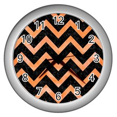 Chevron9 Black Marble & Orange Watercolor (r) Wall Clocks (silver)  by trendistuff
