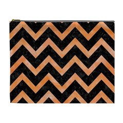 Chevron9 Black Marble & Orange Watercolor (r) Cosmetic Bag (xl) by trendistuff