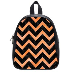 Chevron9 Black Marble & Orange Watercolor (r) School Bag (small) by trendistuff