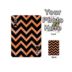 Chevron9 Black Marble & Orange Watercolor (r) Playing Cards 54 (mini)  by trendistuff