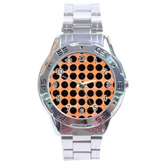 Circles1 Black Marble & Orange Watercolor Stainless Steel Analogue Watch by trendistuff