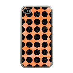 Circles1 Black Marble & Orange Watercolor Apple Iphone 4 Case (clear) by trendistuff