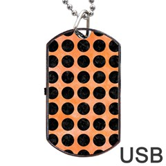 Circles1 Black Marble & Orange Watercolor Dog Tag Usb Flash (one Side) by trendistuff