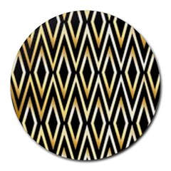 Gold,black,art Deco Pattern Round Mousepads by 8fugoso