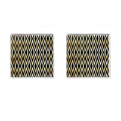 Gold,black,art Deco Pattern Cufflinks (square) by 8fugoso