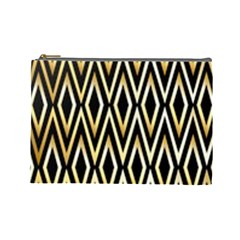 Gold,black,art Deco Pattern Cosmetic Bag (large)  by 8fugoso