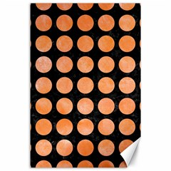 Circles1 Black Marble & Orange Watercolor (r) Canvas 24  X 36  by trendistuff