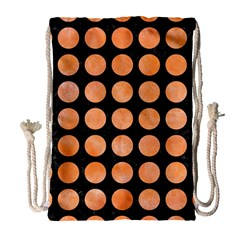 Circles1 Black Marble & Orange Watercolor (r) Drawstring Bag (large) by trendistuff
