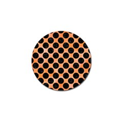 Circles2 Black Marble & Orange Watercolor Golf Ball Marker (10 Pack) by trendistuff